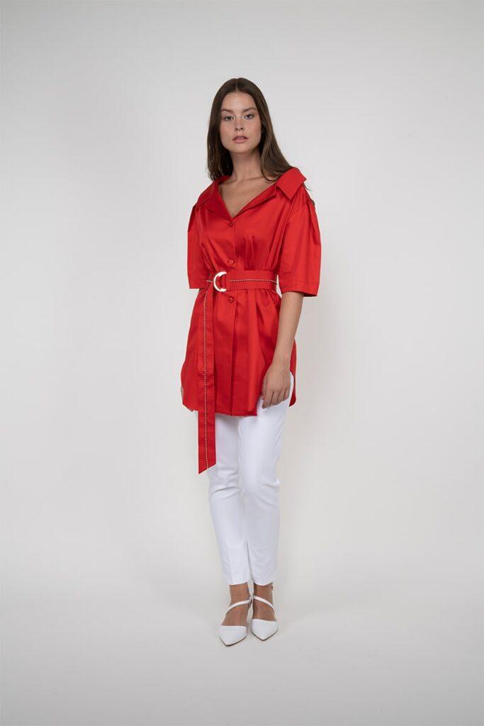 Sembol Giyim Kemer Detaylı %100 Pamuk Kadın Ceket 4425