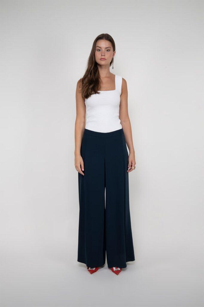 Sembol Giyim Plikaşe Detaylı Rahat Kesim Pallazzo Kadın Pantolon 3293